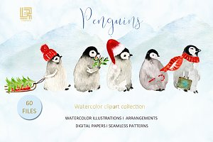 Penguins. Watercolor clipart