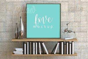 Square White Frame Mockup, Poster