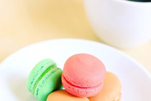 Tasty colorful macarons