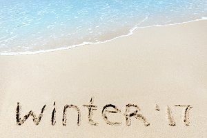 winter 2017 sign on sand