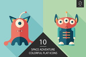 Space adventure flat square icon set