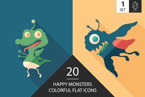 Monsters flat square icon set 1