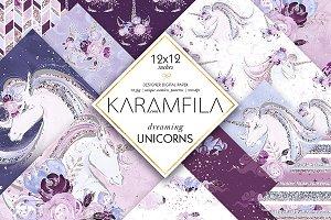 Dreaming Unicorns Digital Paper