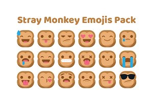 Stray Monkey Emojis Pack