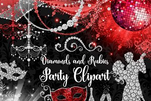 Diamonds and Rubies Party Clipart