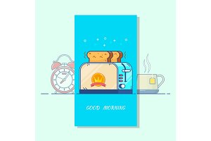 Good morning card.Toaster colorful line icon, kitchen and appliance. Isolated vector objects.