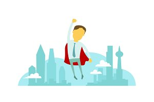 Superhero man businessman flies over the city with hand up. Success and victory. In tie and red cloak. Vector illustration.