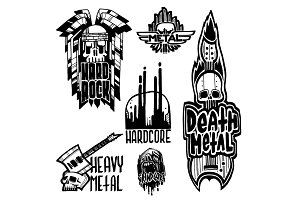 Heavy rock music badge vector vintage labels with punk skull symbols hard sound sticker print emblem illustration