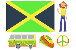 Rastafarian cannabis peace ganja icons set in flat style marijuana smoking equipment vector illustration