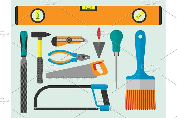 Vector Various Color Flat Design House Repair Instruments Equipment Icons Construction House Tools