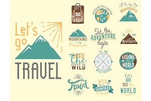 Vintage typography travel motivation badge nature adventure vector adventure emblem illustration