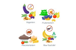 Food diet types vector illustration healthy nutrition concept fruits and vegetables kitchen menu cooking ingredient organic lifestyle.