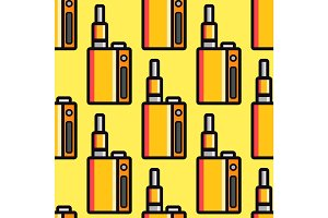 Vape device vector cigarette vaporizer vapor juice seamless pattern bottle flavor illustration battery coil.