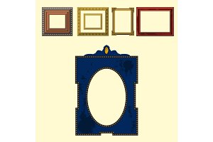 Picture frame museum interior exhibition decorative vector photo art gallery on vintage antique decoration wall.