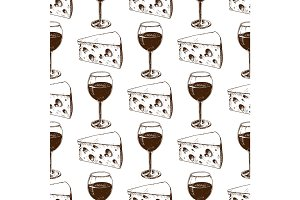 Winery making harvest wine glass seamless pattern industry alcohol production vector illustration