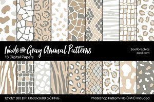 Nude & Gray Animals Digital Papers