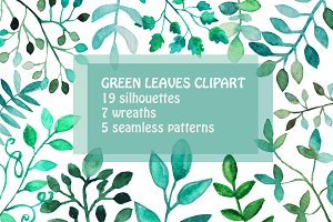 Watercolor Green Leaves Clipart