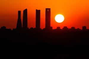 Madrid sunrise city silhouette