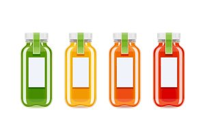 Glass juice bottles. Ecological