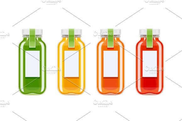 Glass juice bottles. Ecological