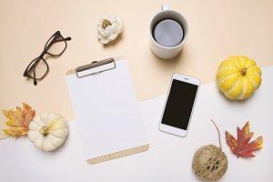 Flat lay workspace desk autumn style