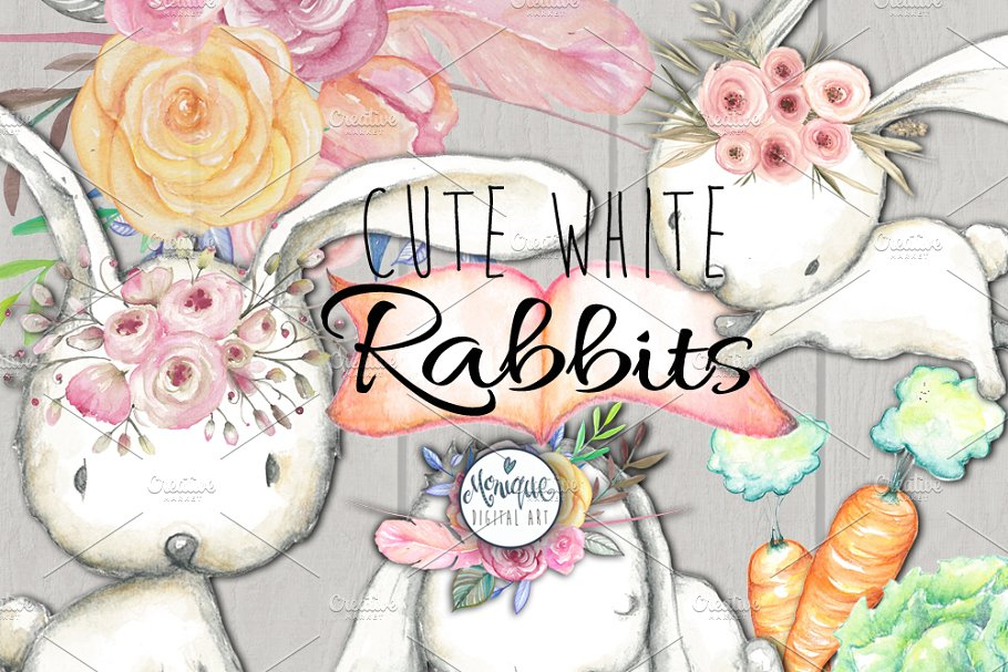White Rabbits Watercolor Clipart in Illustrations - product preview 8