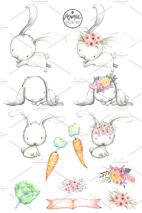 White Rabbits Watercolor Clipart in Illustrations - product preview 1