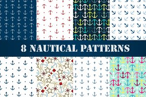 Set of 8 nautical patterns, part 1