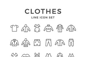 Set Line Icons of Clothes