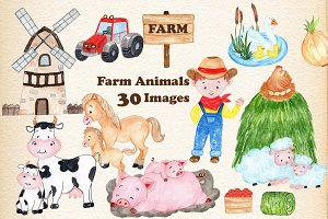 Watercolor Farm Animals Clipart