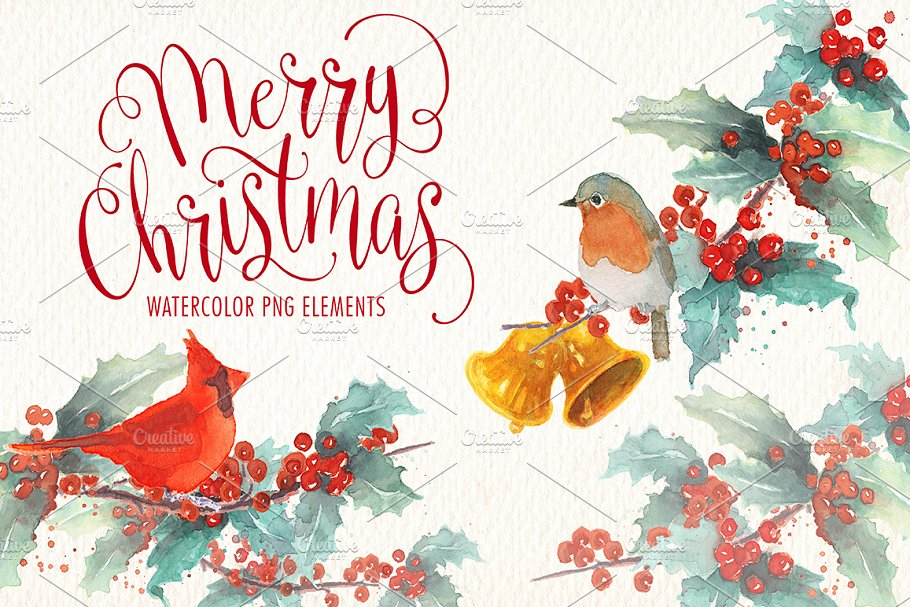 Christmas Illustrations Png.Watercolor Christmas Png Elements Illustrations Creative