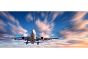 Airplane and beautiful sky with motion blur effect.