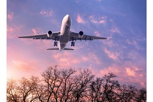 White passenger airplane is flying in the purple sky