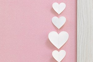Pink white heart shape background