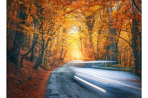 Blurred car going mountain road in autumn forest at sunset