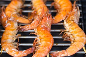 King prawn shrimps on grill