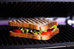 Sandwich in grill