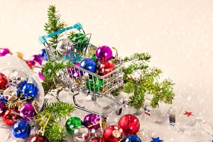 Christmas baubles in trolley
