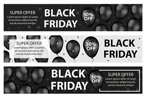 Black Friday promotional web banner with black realistic balloons. Modern, trendy Template for your design Border, flyer. Special offer, discounts. Vector illustration