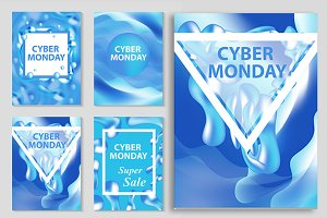 Cyber Monday super sale day set flyers, collection of templates for your poster design, invitation, banner. Special offer, discounts. Vector illustration