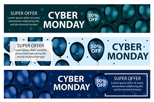Cyber Monday promotional web banner with blue realistic balloons. Modern, trendy Template for your design Border, flyer. Special offer, discounts. Vector illustration