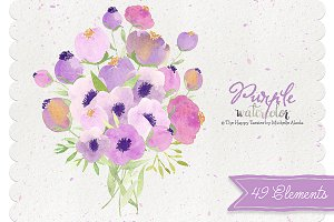 Watercolor Purple Flower Clipart