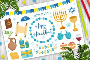 Happy hanukkah set of icons flat style. Hanukkah collection of design elements with menorah, sufganiyot, bunting, dreidel, coins, oil. Isolated on white background. Vector illustration