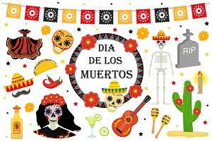 Day of the Dead Mexican holiday icons flat style. Dia de los muertos collection of objects, design elements with sugar skull, skeleton, grave. Isolated on white background. Vector illustration.