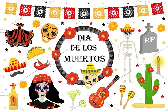 Day Of The Dead Mexican Holiday Icons Flat Style Dia De Los Muertos Collection