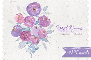 Watercolor Purple Peonies Clipart