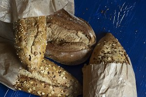 Variety of breads with seeds and nut