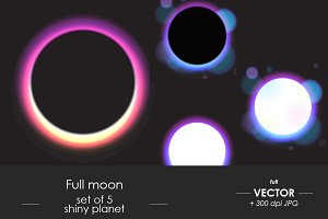 Vector full moon set