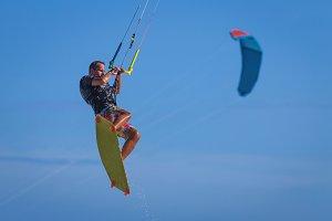 Man riding kite surf sea Vietnam