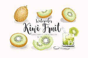 Kiwi Fruit Watercolor set